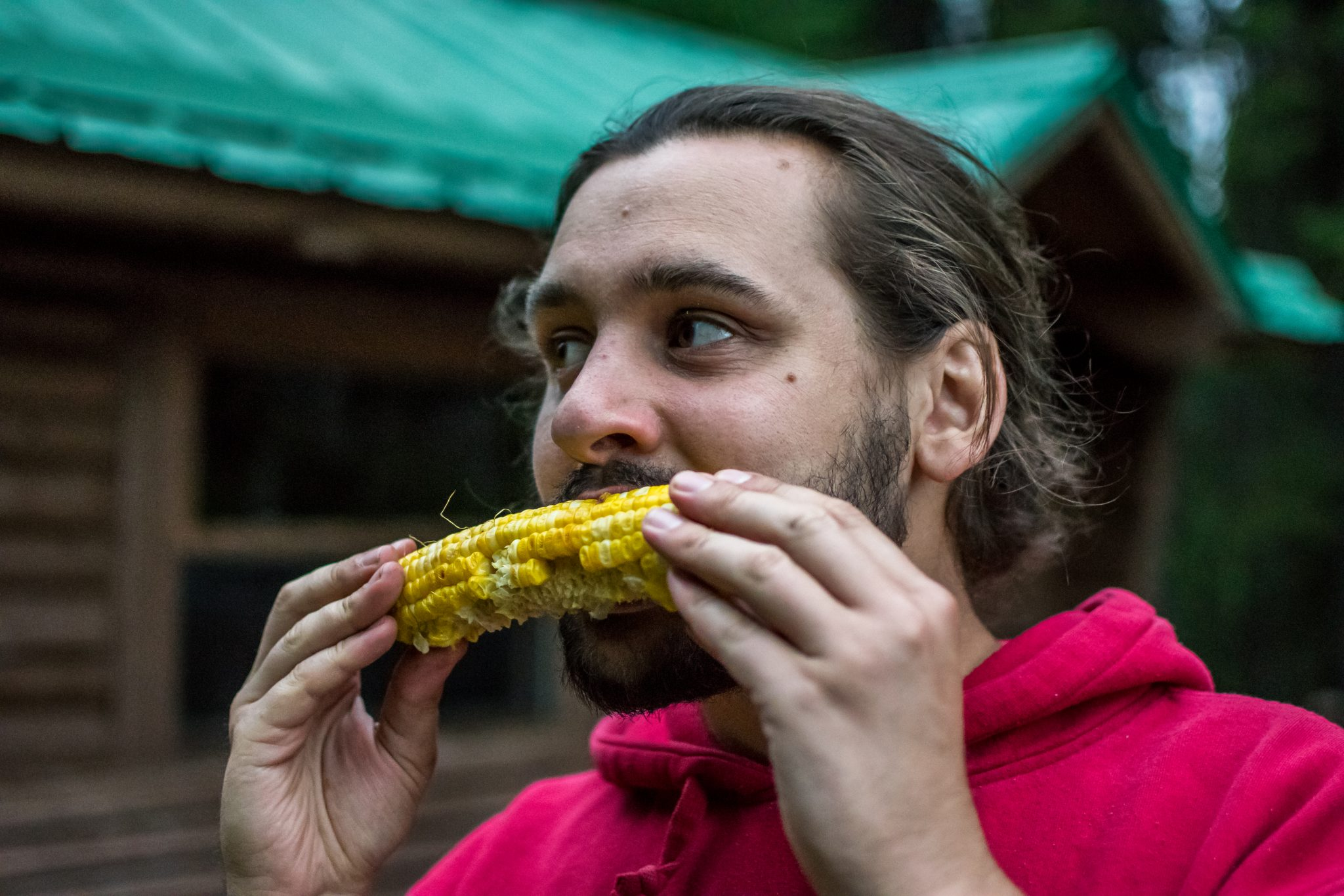 homme mange maïs